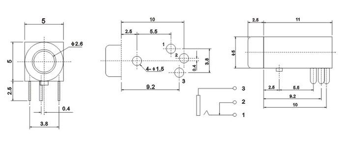 耳机插座技术参数: 1.额定负荷:0.5A 30V DC 2.按触电阻:100 mΩ max. 3.使用温度:-20℃~70℃ 4.插拔力:3-20N 5.使用寿命:5,000cycles 耳机插座主要组成部件: 1.塑胶底座 2.磷铜或铍铜簧片